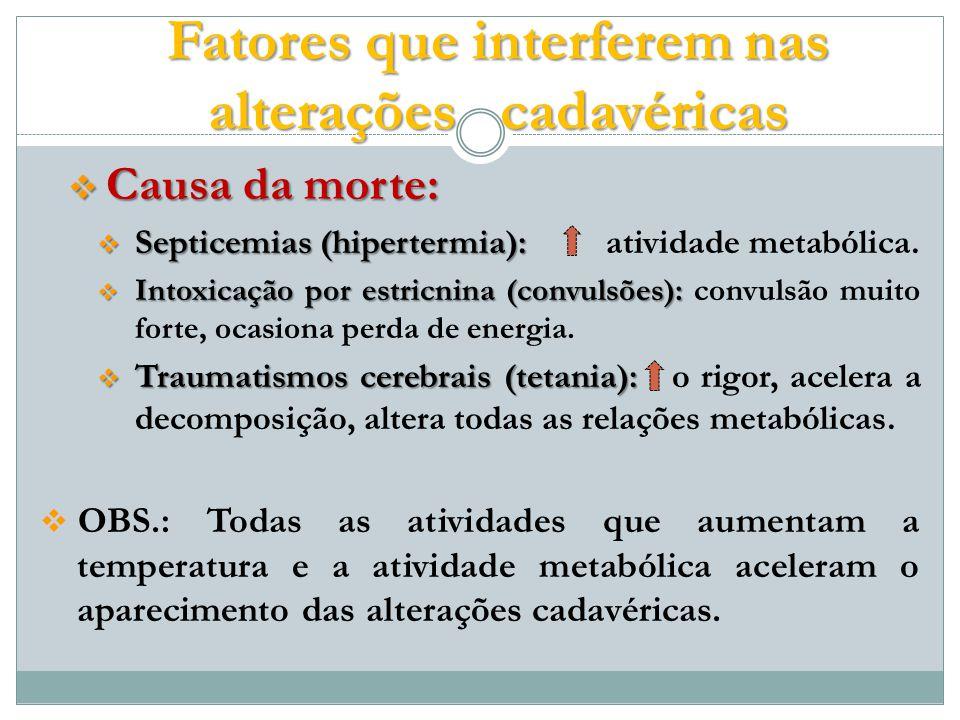 Fatores que interferem nas alterações cadavéricas