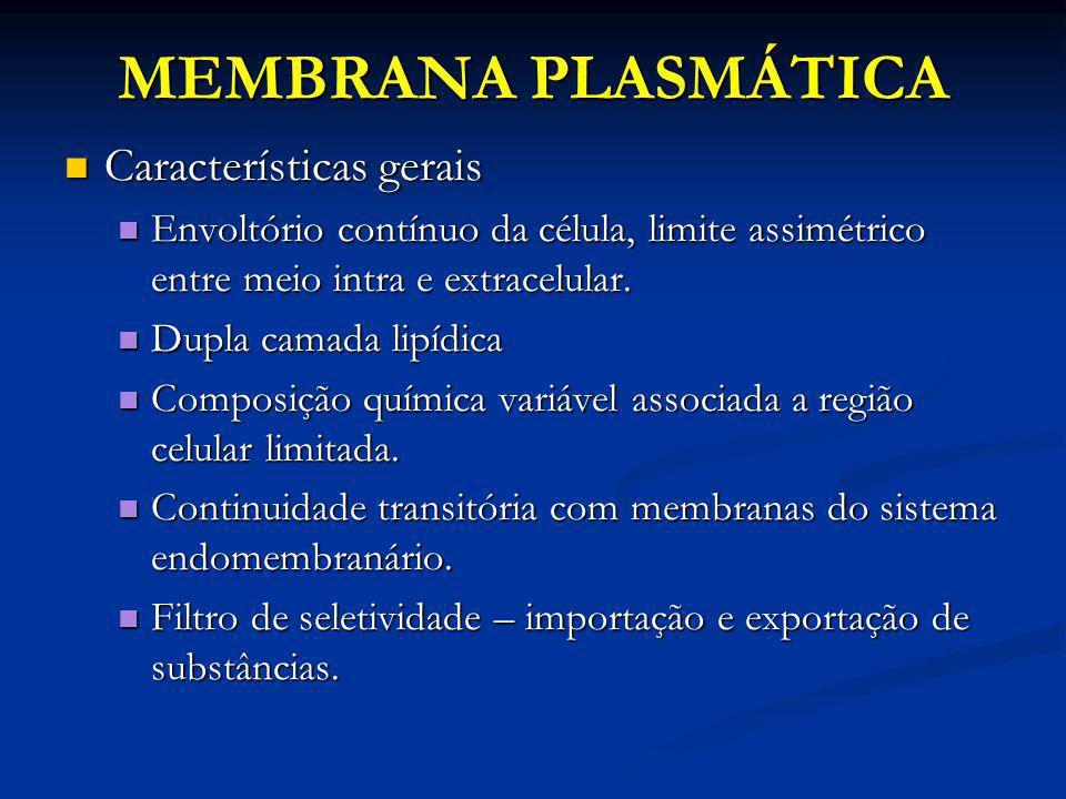 MEMBRANA PLASMÁTICA Características gerais