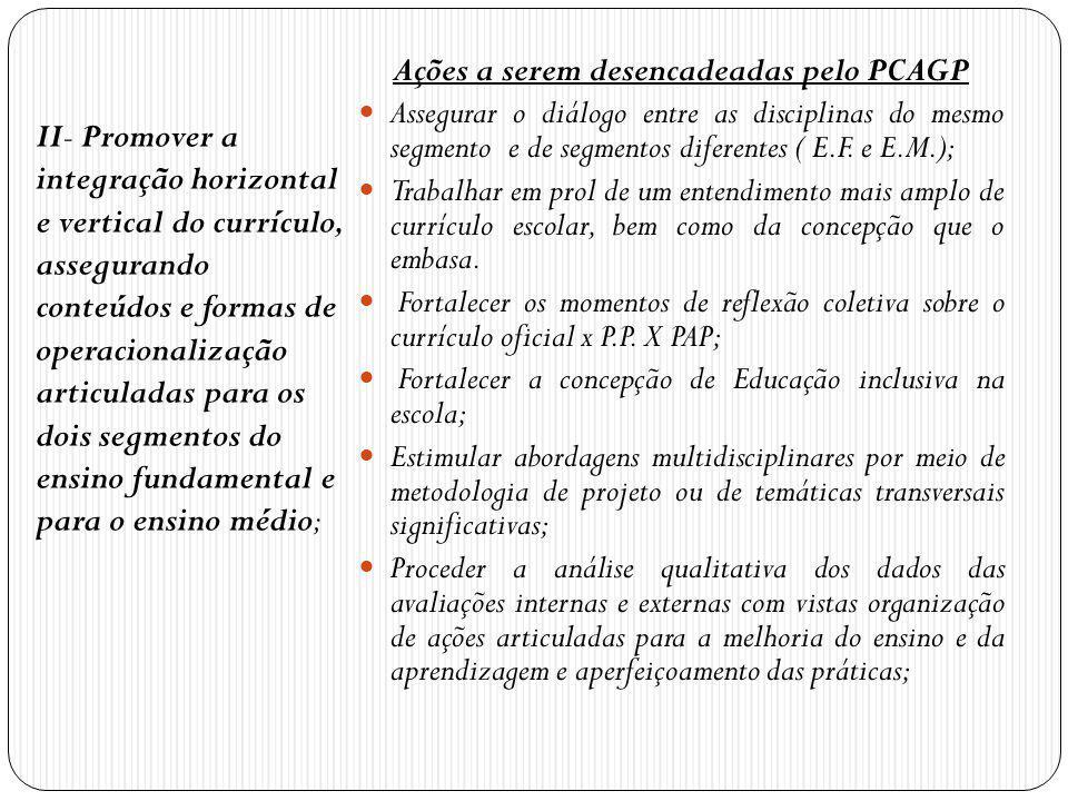 Ações a serem desencadeadas pelo PCAGP