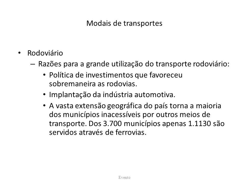Razões para a grande utilização do transporte rodoviário: