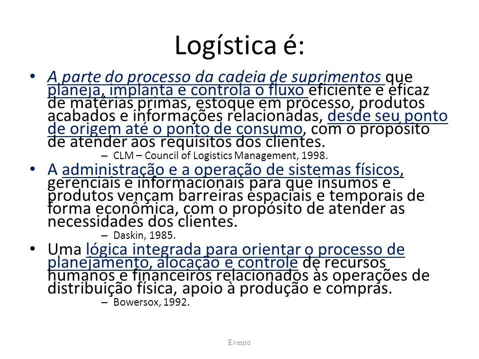 Logística é: