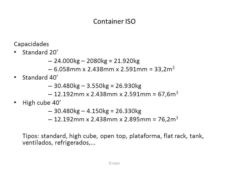 Container ISO Capacidades Standard 20' 24.000kg – 2080kg = 21.920kg