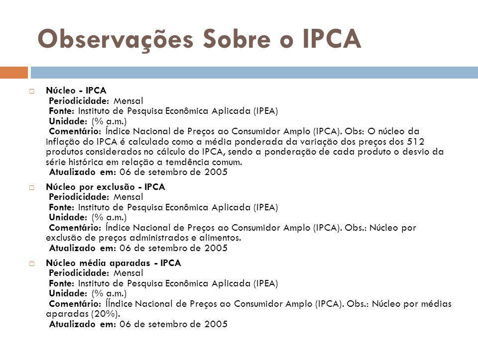 Observações Sobre o IPCA
