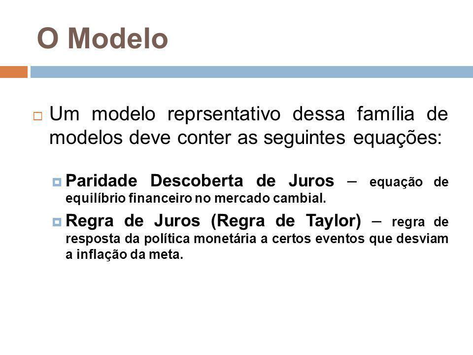 O Modelo Um modelo reprsentativo dessa família de modelos deve conter as seguintes equações: