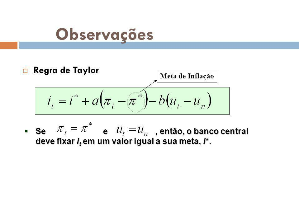 Observações Regra de Taylor Se