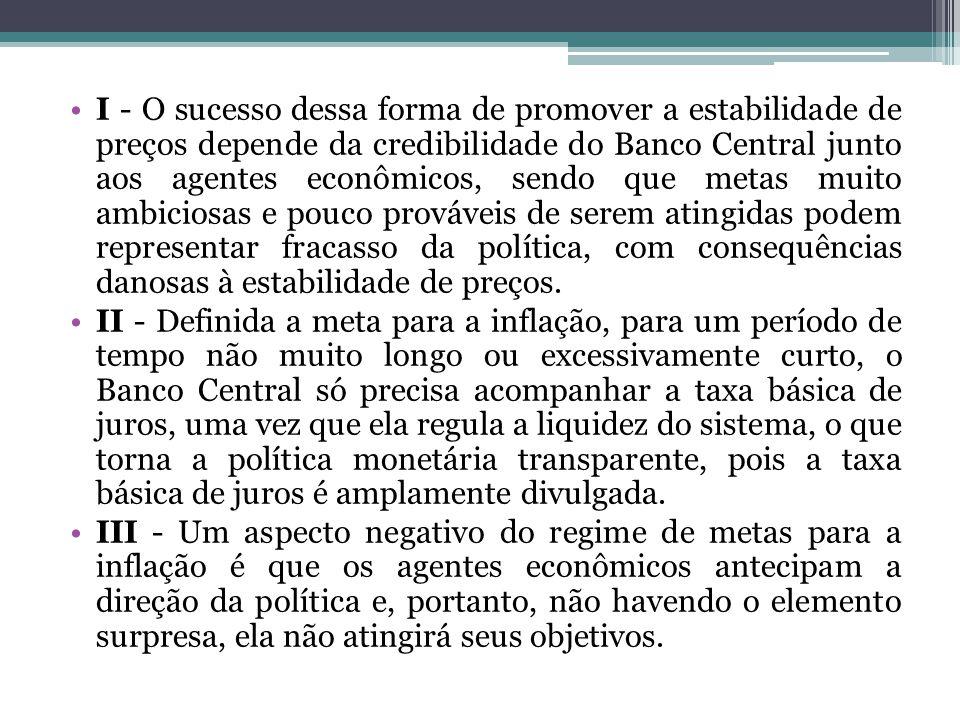 I - O sucesso dessa forma de promover a estabilidade de preços depende da credibilidade do Banco Central junto aos agentes econômicos, sendo que metas muito ambiciosas e pouco prováveis de serem atingidas podem representar fracasso da política, com consequências danosas à estabilidade de preços.