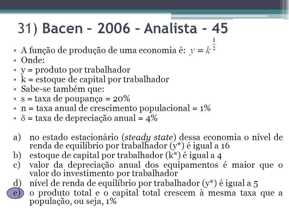 31) Bacen – 2006 – Analista - 45 A função de produção de uma economia é: Onde: y = produto por trabalhador.