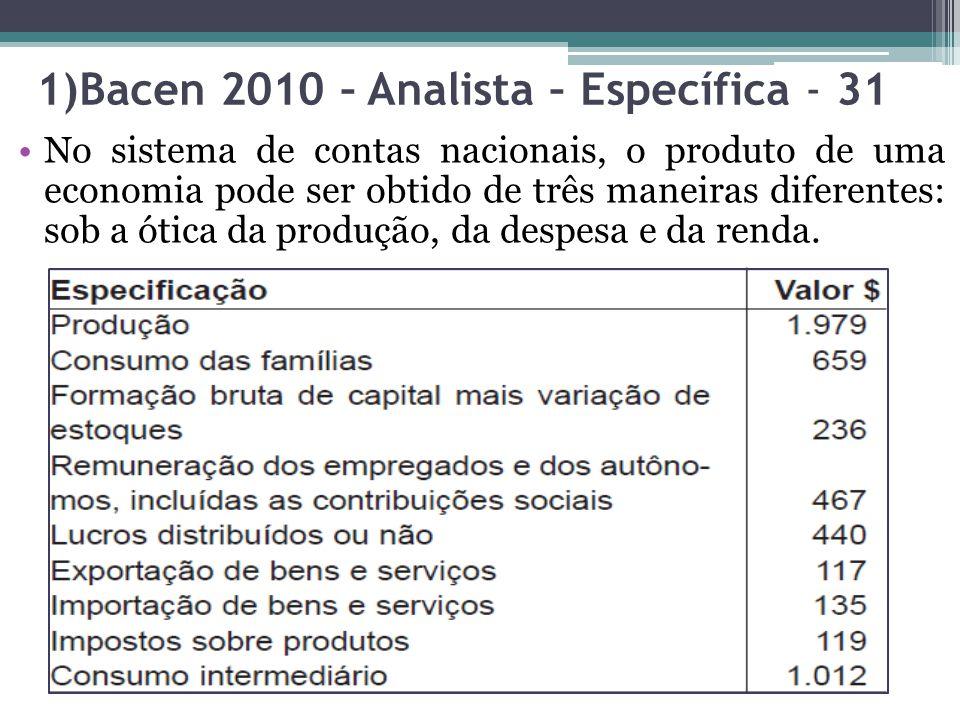 1)Bacen 2010 – Analista – Específica - 31