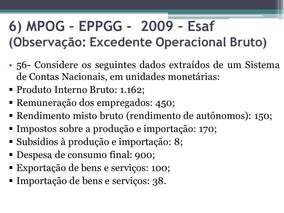 6) MPOG – EPPGG - 2009 – Esaf (Observação: Excedente Operacional Bruto)