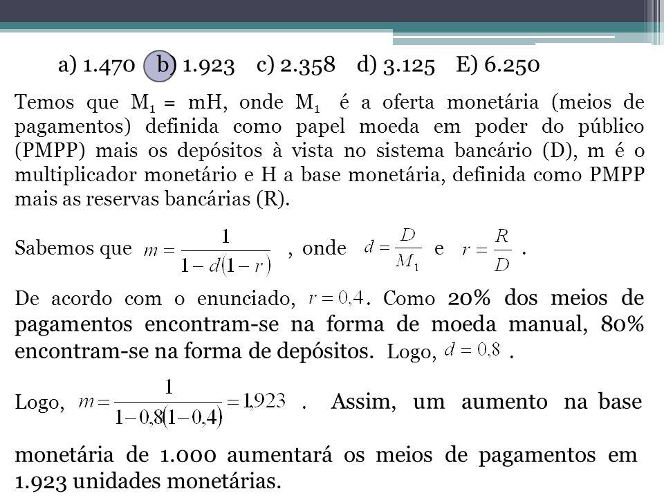 a) 1.470 b) 1.923 c) 2.358 d) 3.125 E) 6.250