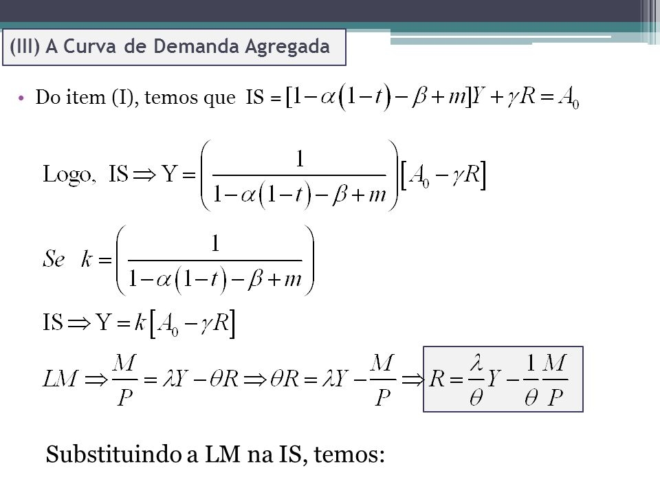 Substituindo a LM na IS, temos:
