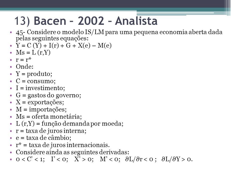 13) Bacen – 2002 – Analista 45- Considere o modelo IS/LM para uma pequena economia aberta dada pelas seguintes equações:
