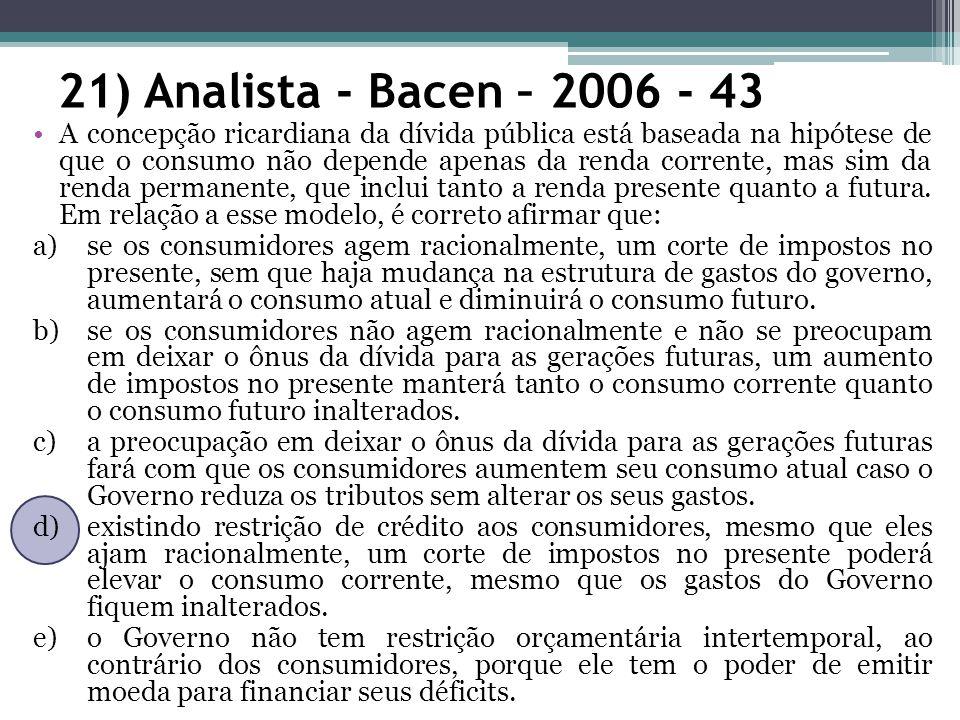 21) Analista - Bacen – 2006 - 43