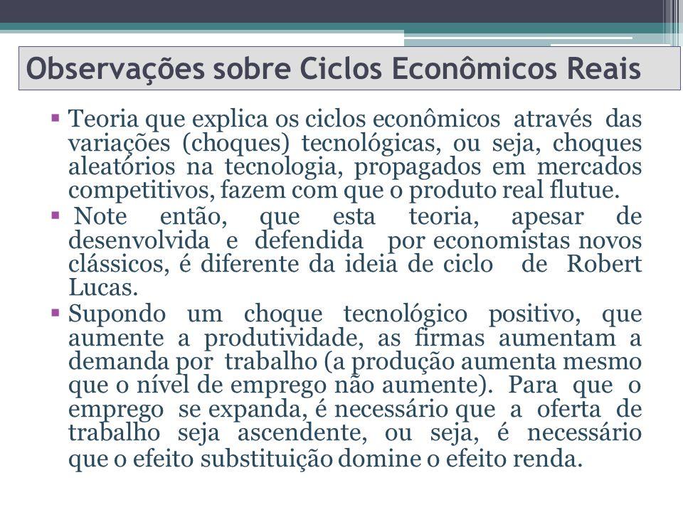 Observações sobre Ciclos Econômicos Reais