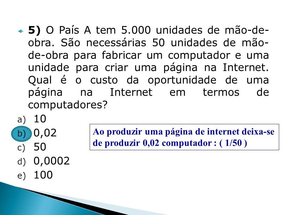 5) O País A tem 5. 000 unidades de mão-de- obra