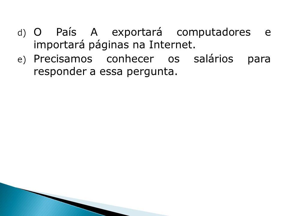 O País A exportará computadores e importará páginas na Internet.