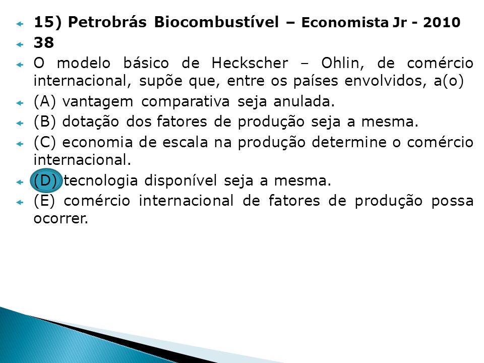 15) Petrobrás Biocombustível – Economista Jr - 2010