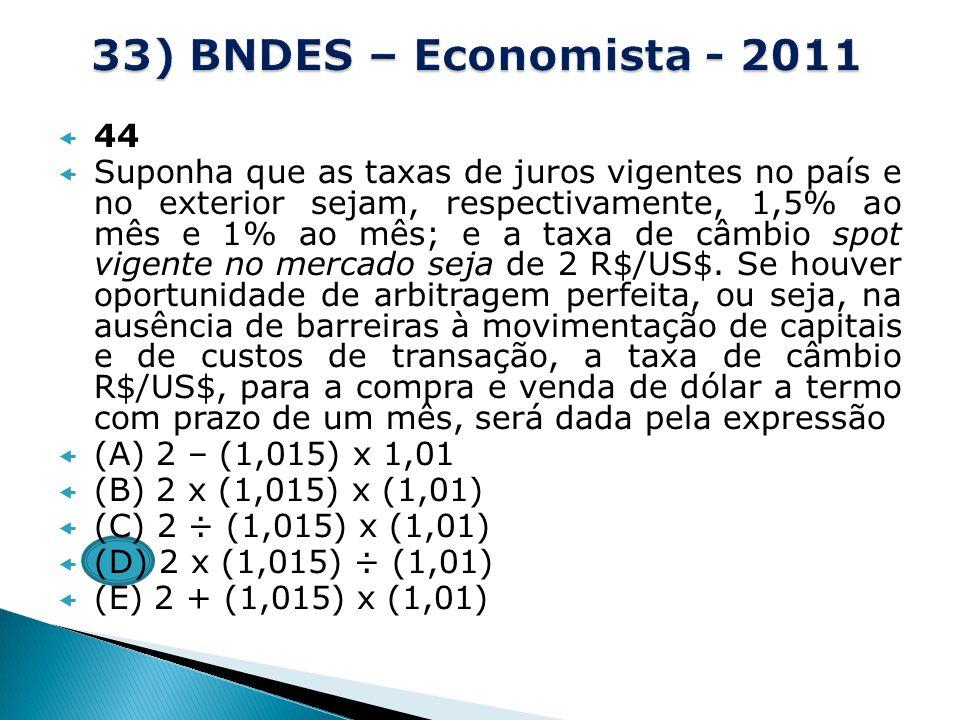 33) BNDES – Economista - 2011 44.