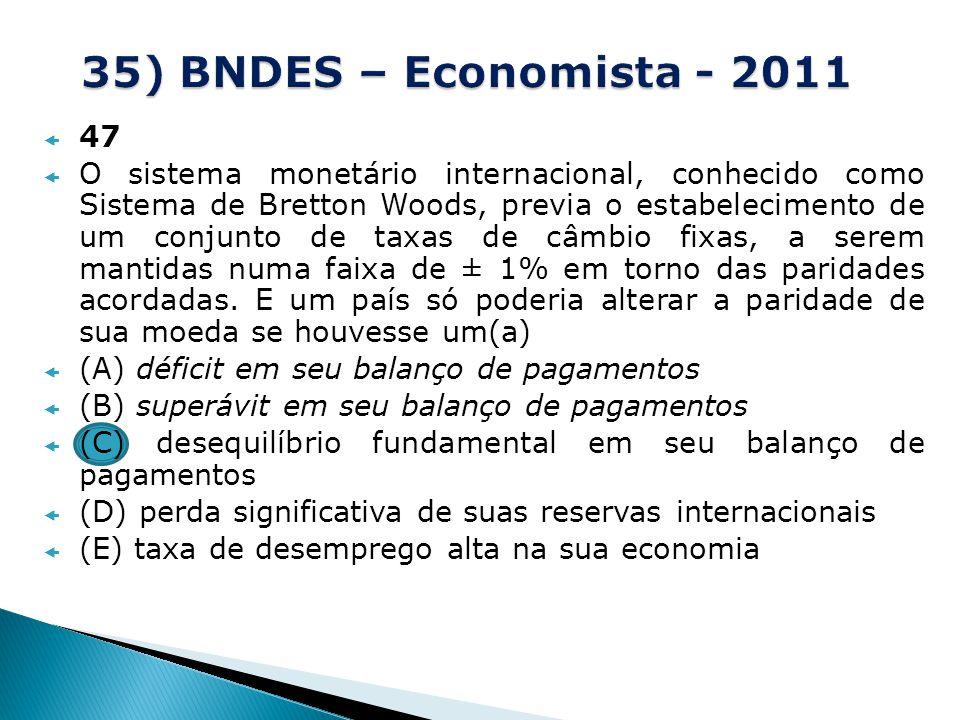 35) BNDES – Economista - 2011 47.
