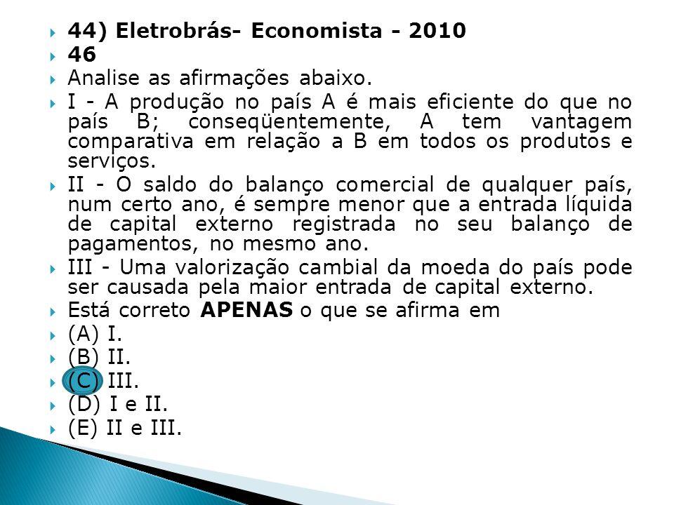 44) Eletrobrás- Economista - 2010