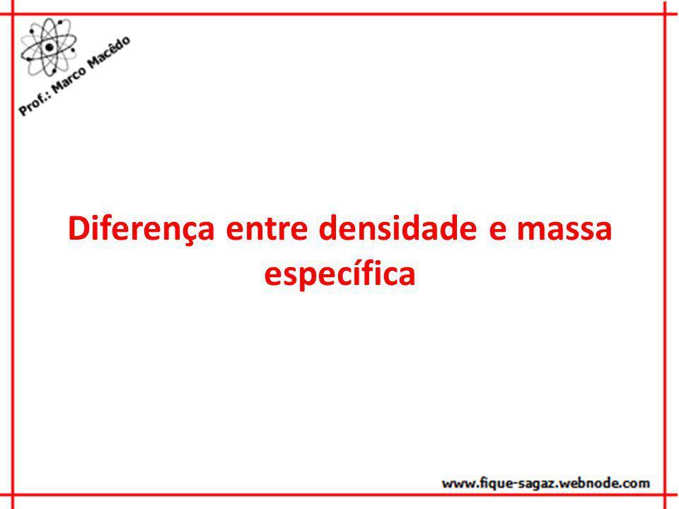 Diferença entre densidade e massa específica