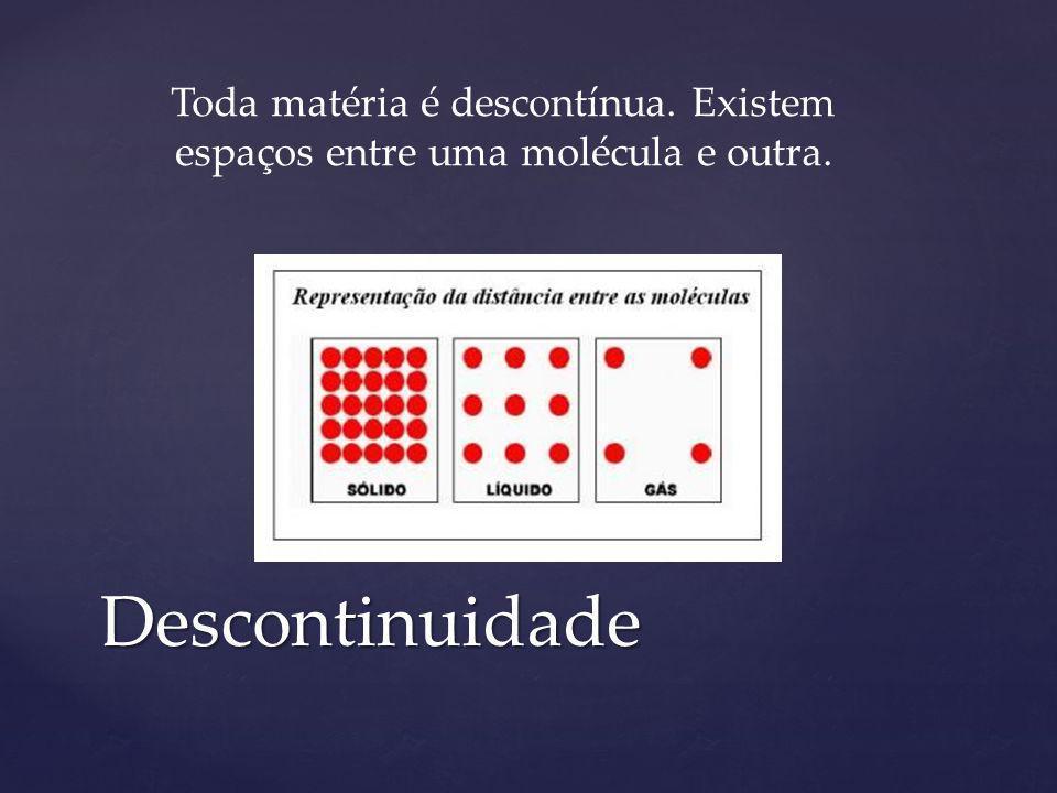 Toda matéria é descontínua. Existem espaços entre uma molécula e outra.