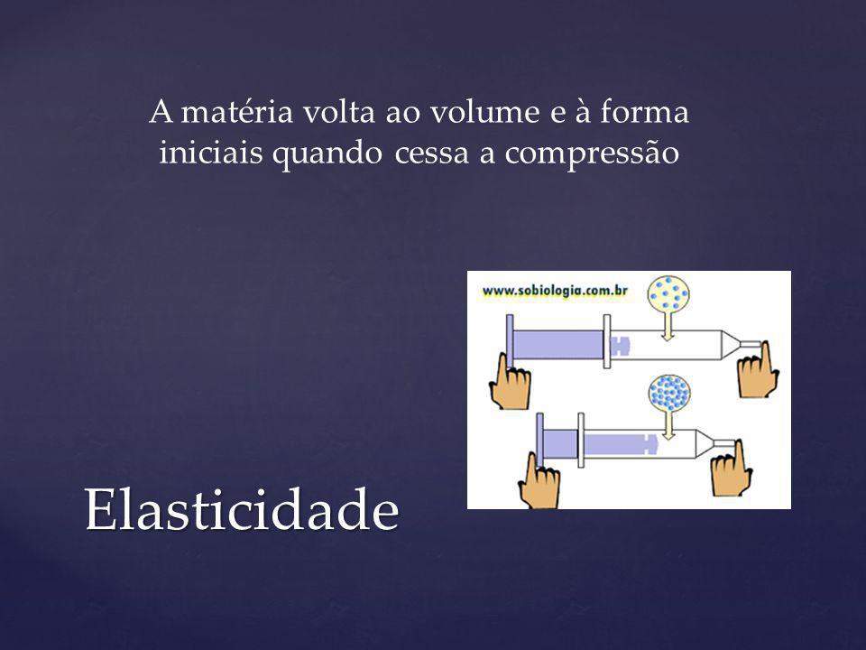 A matéria volta ao volume e à forma iniciais quando cessa a compressão