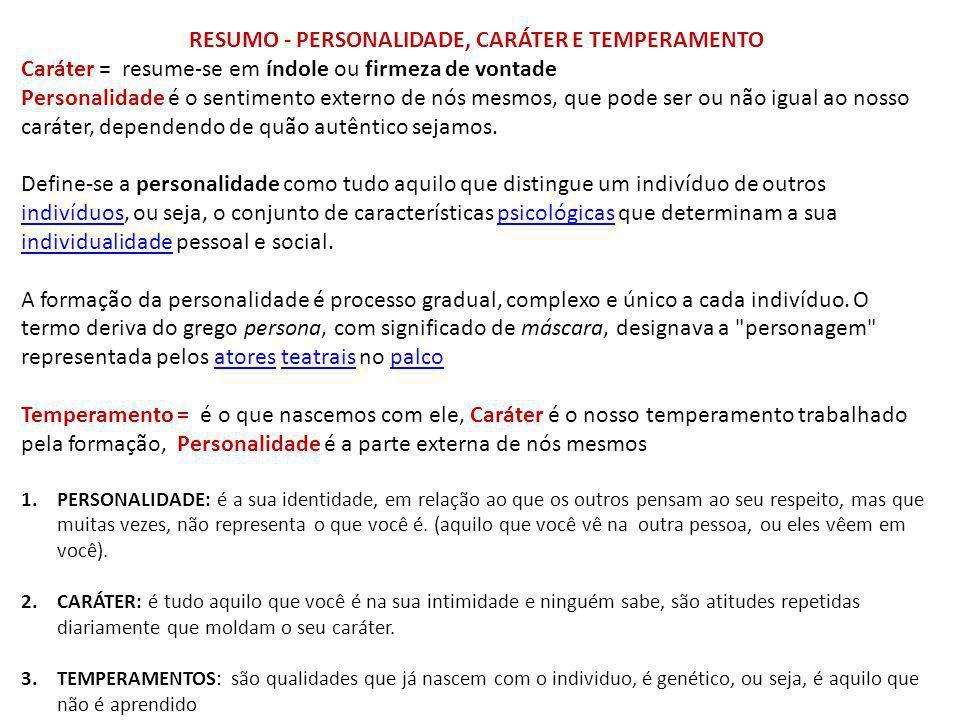 RESUMO - PERSONALIDADE, CARÁTER E TEMPERAMENTO
