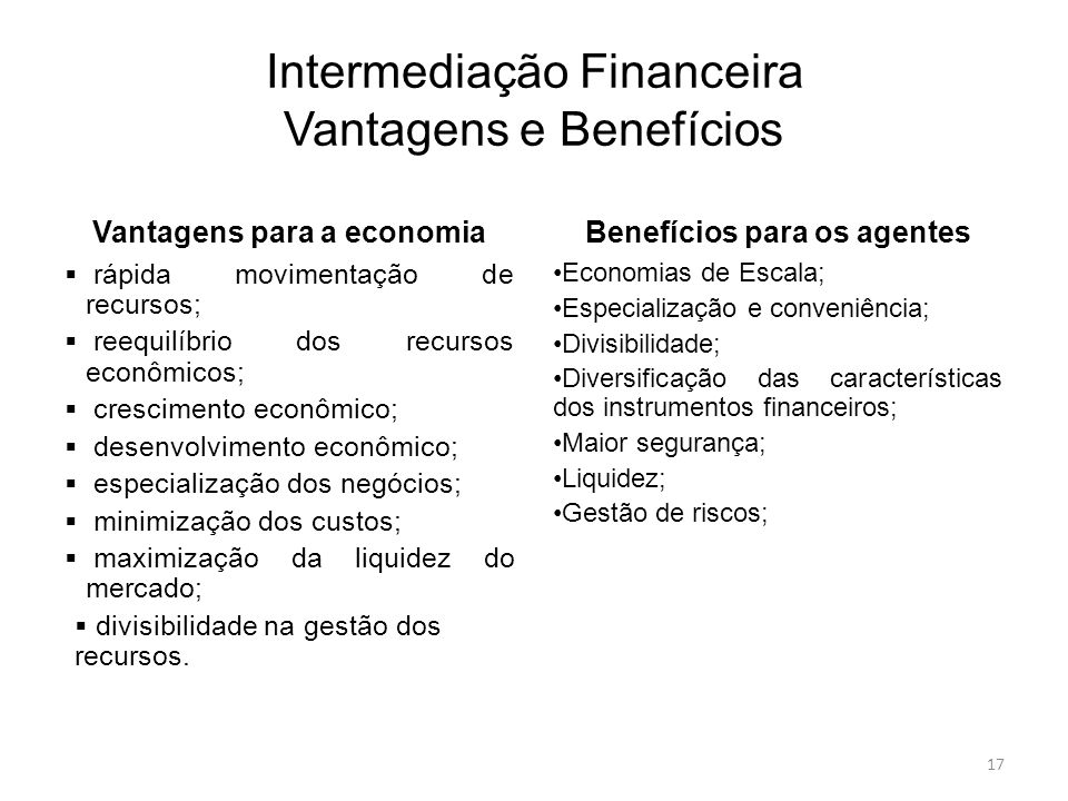 Intermediação Financeira Vantagens e Benefícios