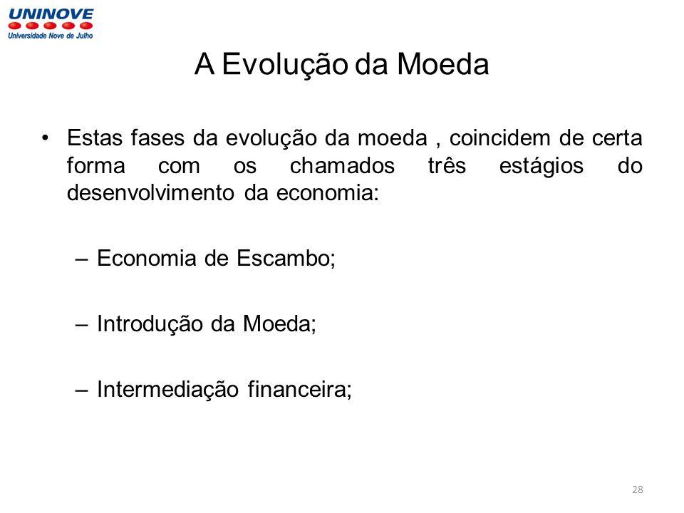 A Evolução da Moeda Estas fases da evolução da moeda , coincidem de certa forma com os chamados três estágios do desenvolvimento da economia: