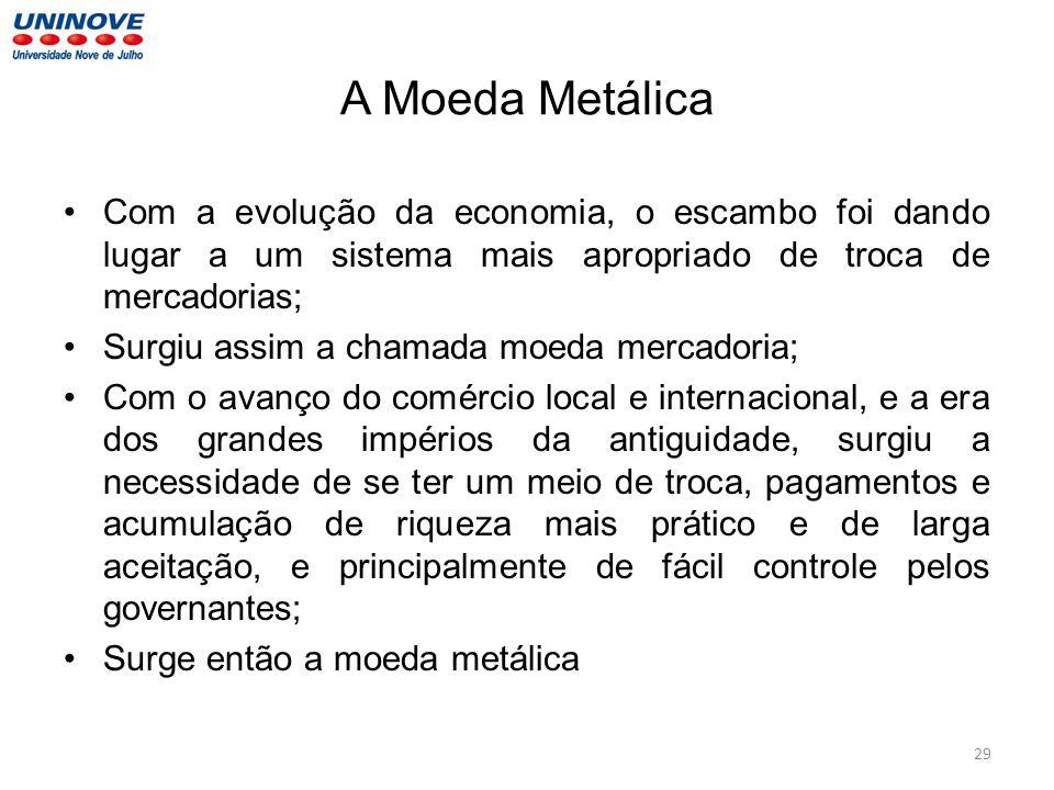 A Moeda Metálica Com a evolução da economia, o escambo foi dando lugar a um sistema mais apropriado de troca de mercadorias;