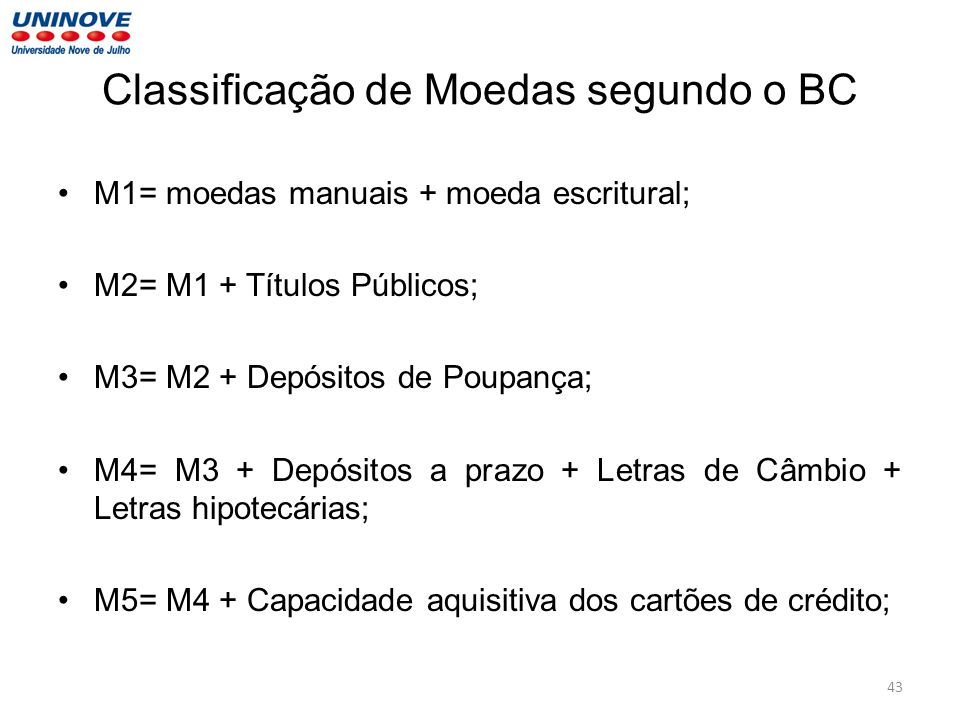 Classificação de Moedas segundo o BC