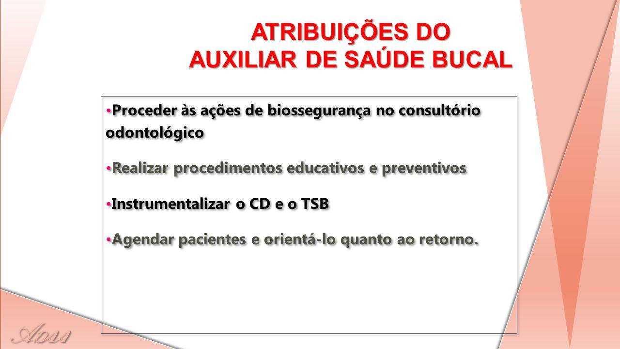 ATRIBUIÇÕES DO AUXILIAR DE SAÚDE BUCAL