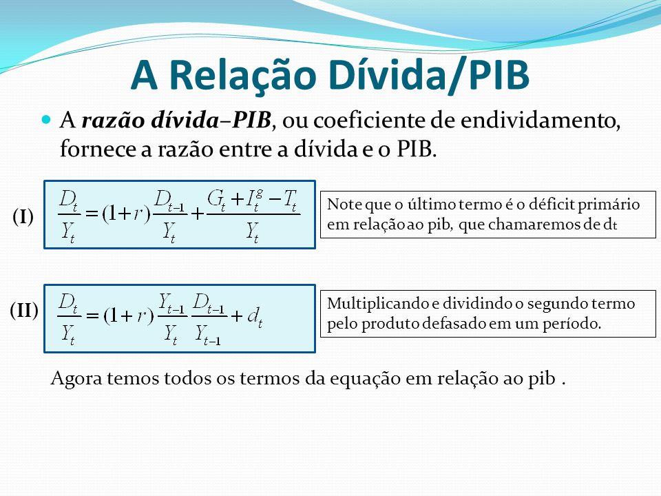 A Relação Dívida/PIB A razão dívida–PIB, ou coeficiente de endividamento, fornece a razão entre a dívida e o PIB.