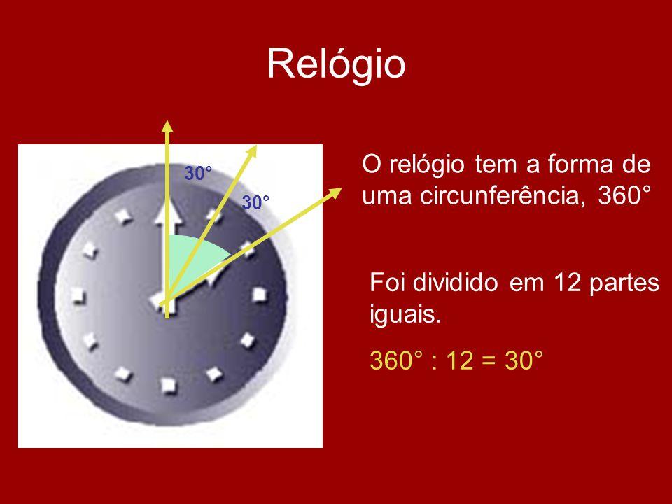 Relógio O relógio tem a forma de uma circunferência, 360°