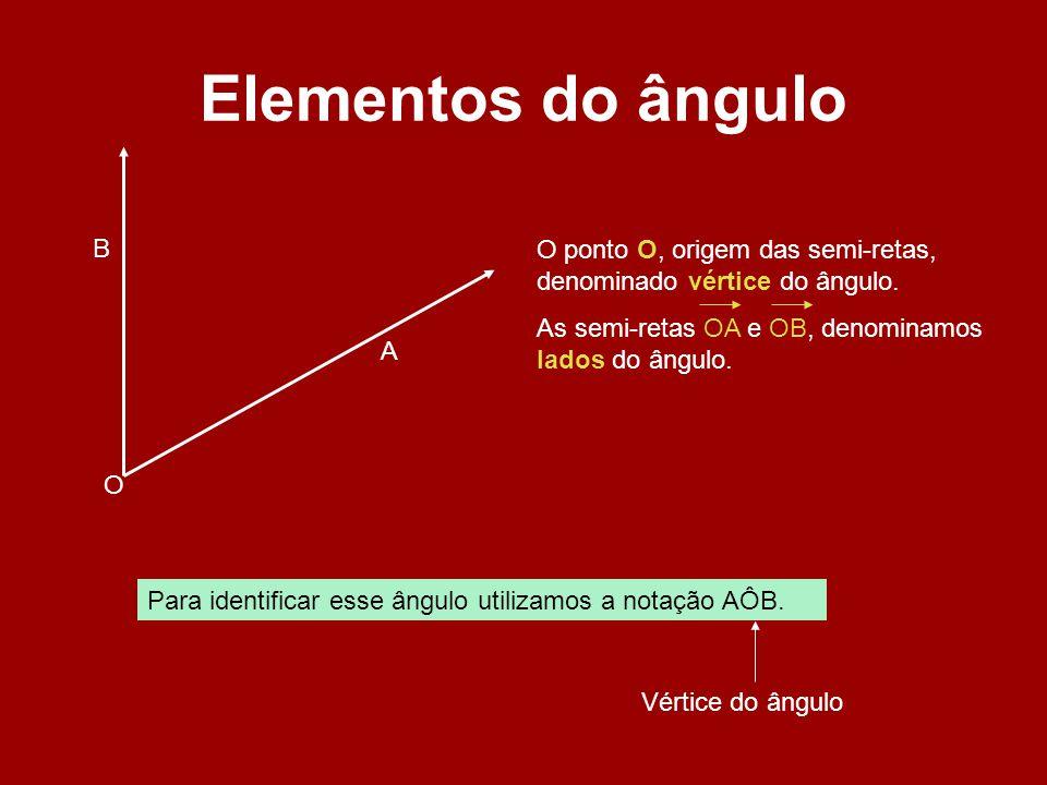 Elementos do ângulo B. O ponto O, origem das semi-retas, denominado vértice do ângulo. As semi-retas OA e OB, denominamos lados do ângulo.