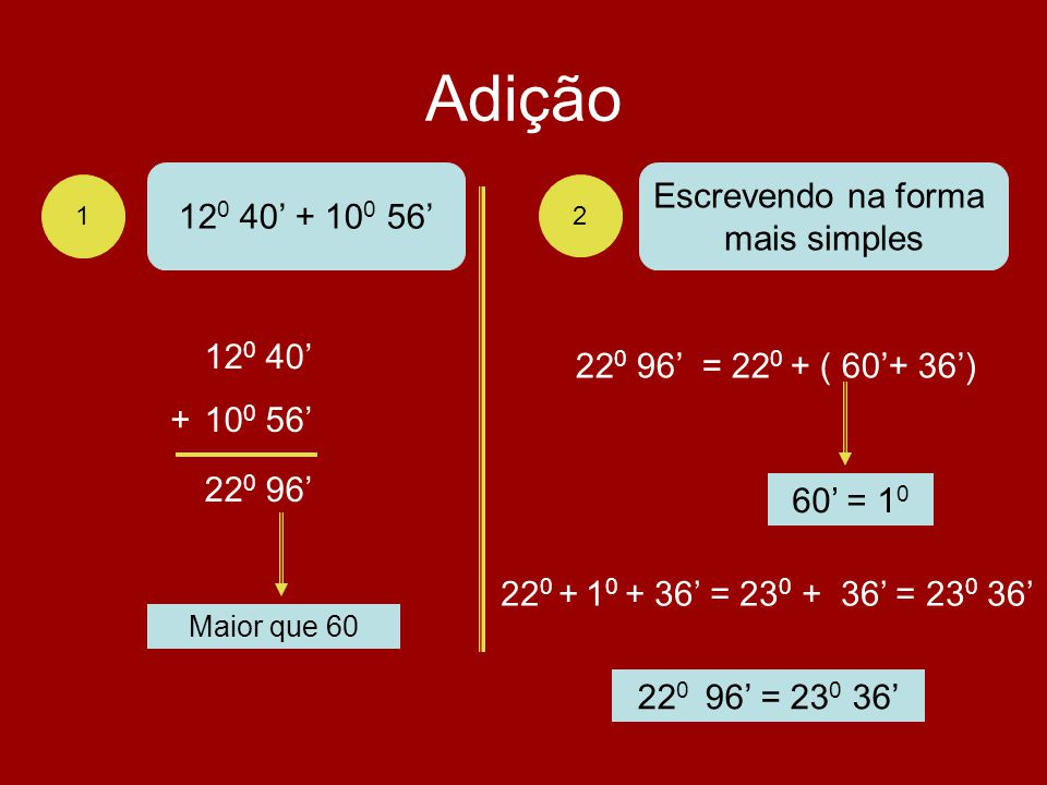 Adição 120 40' + 100 56' Escrevendo na forma mais simples 120 40'