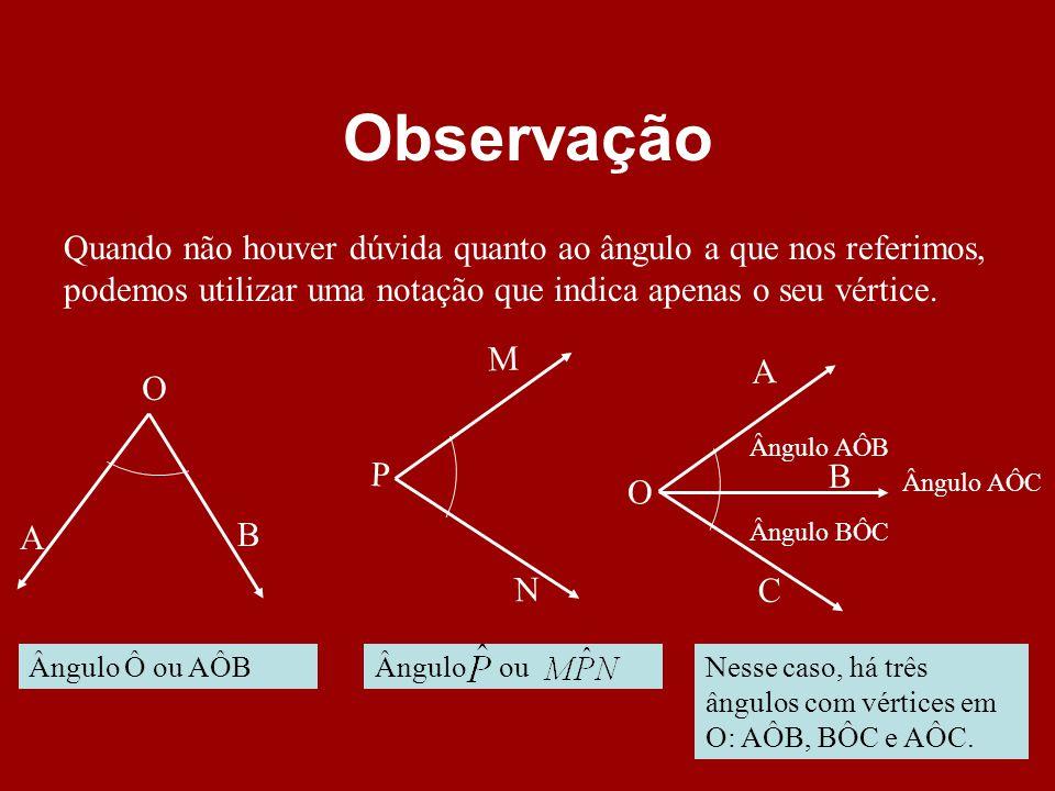 Observação Quando não houver dúvida quanto ao ângulo a que nos referimos, podemos utilizar uma notação que indica apenas o seu vértice.