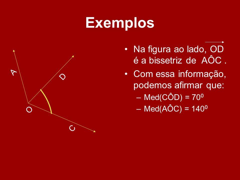 Exemplos Na figura ao lado, OD é a bissetriz de AÔC .