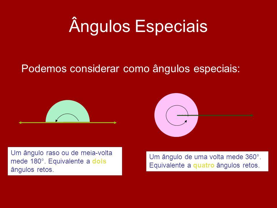 Ângulos Especiais Podemos considerar como ângulos especiais: