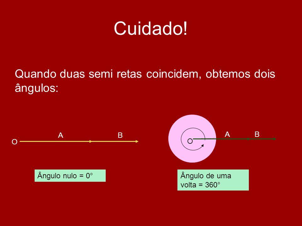 Cuidado! Quando duas semi retas coincidem, obtemos dois ângulos: O A B