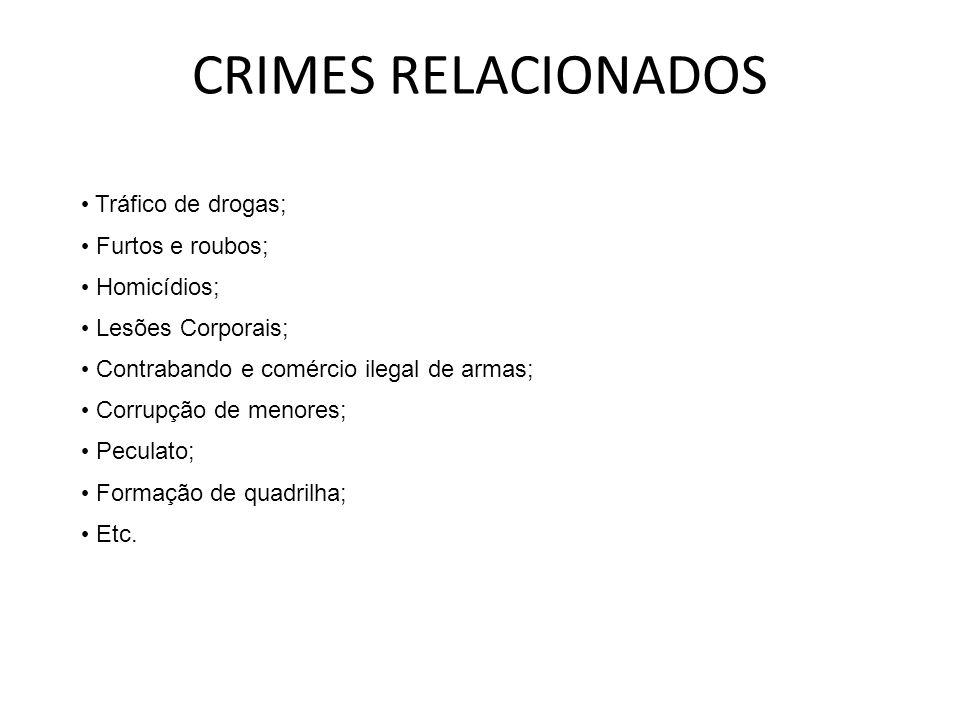CRIMES RELACIONADOS Tráfico de drogas; Furtos e roubos; Homicídios;
