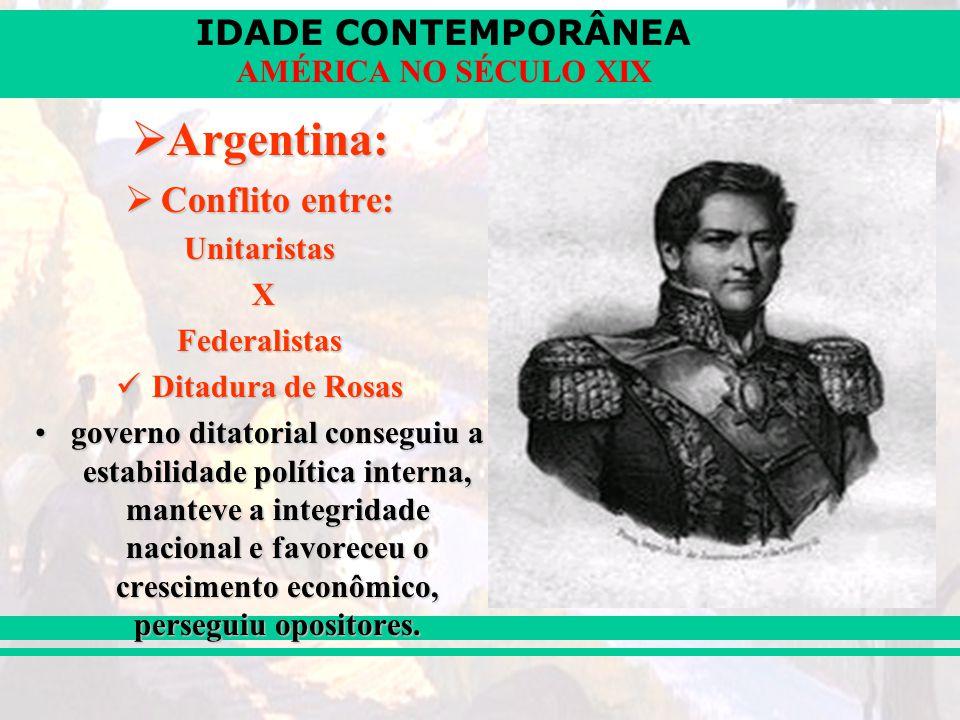 Argentina: Conflito entre: Unitaristas X Federalistas