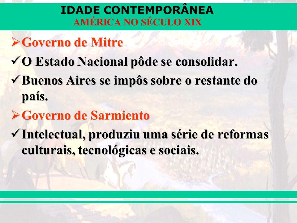 Governo de Mitre O Estado Nacional pôde se consolidar. Buenos Aires se impôs sobre o restante do país.