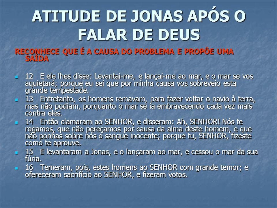 ATITUDE DE JONAS APÓS O FALAR DE DEUS