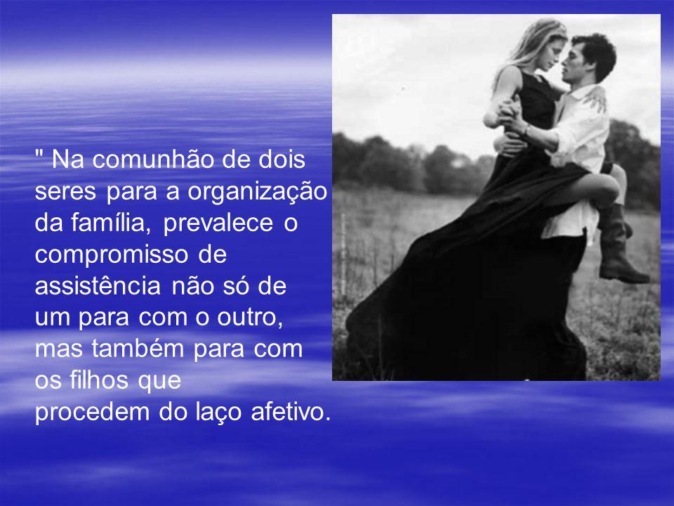 Na comunhão de dois seres para a organização. da família, prevalece o. compromisso de. assistência não só de.