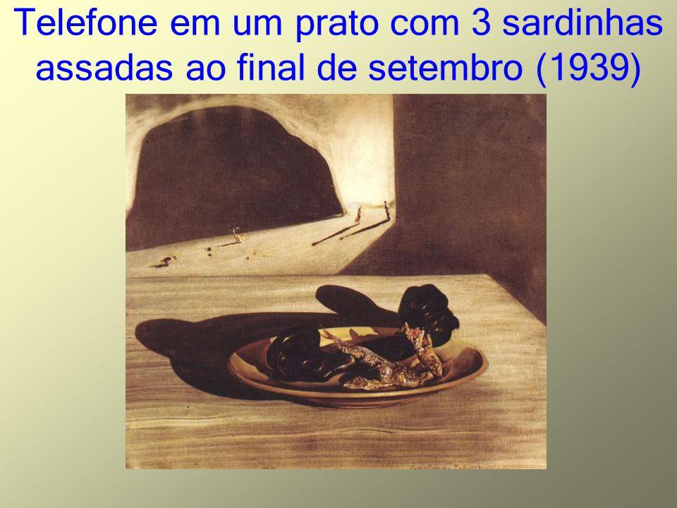 Telefone em um prato com 3 sardinhas assadas ao final de setembro (1939)