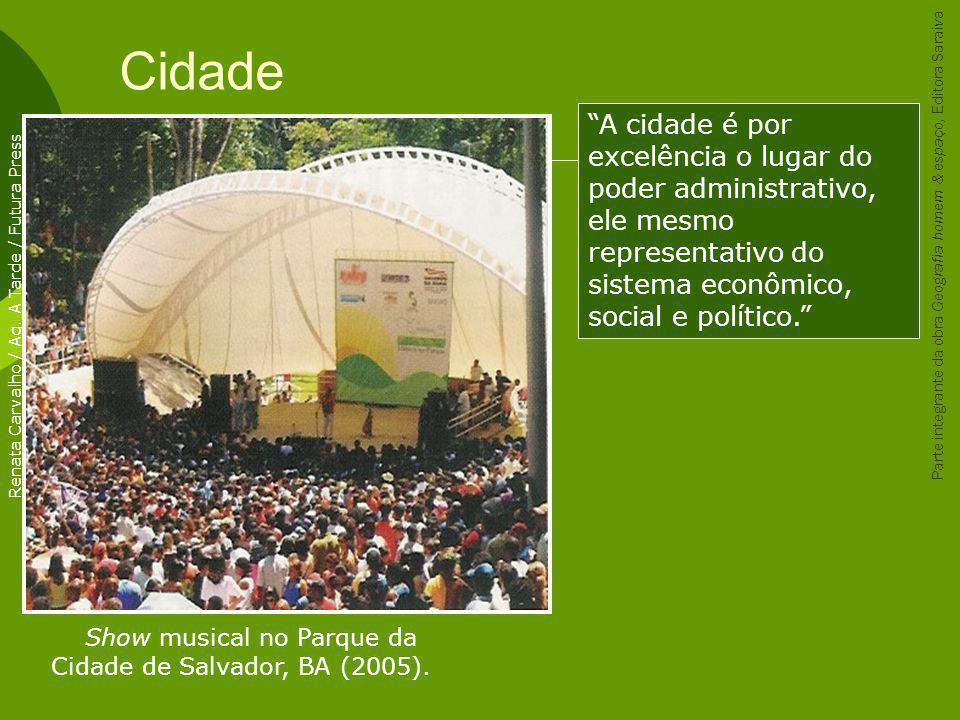 Cidade A cidade é por excelência o lugar do poder administrativo, ele mesmo representativo do sistema econômico, social e político.