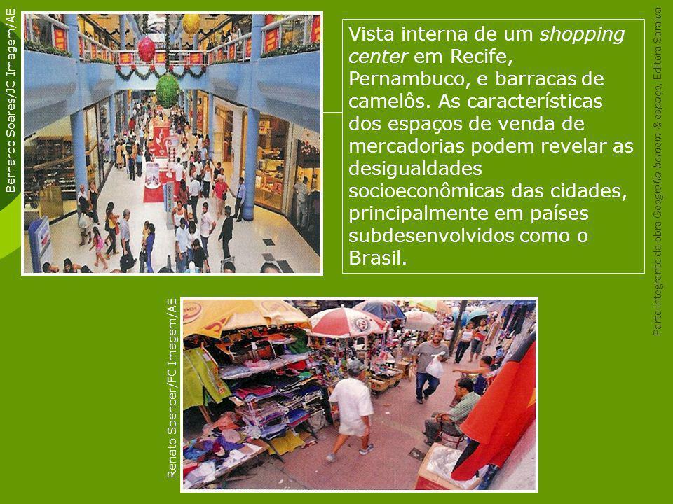Vista interna de um shopping center em Recife, Pernambuco, e barracas de camelôs. As características dos espaços de venda de mercadorias podem revelar as desigualdades socioeconômicas das cidades, principalmente em países subdesenvolvidos como o Brasil.