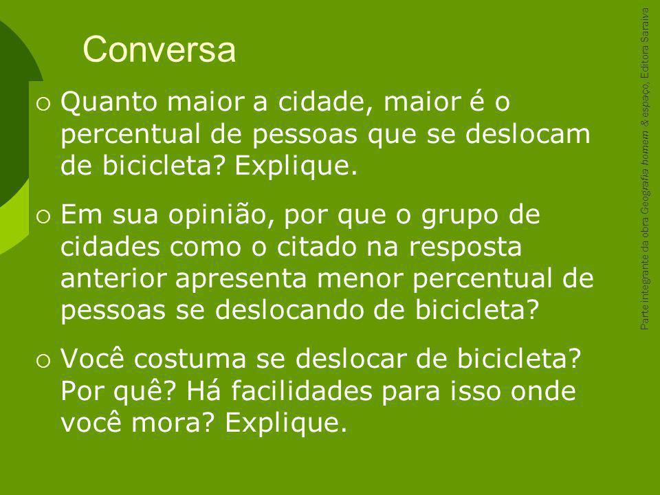 Conversa Quanto maior a cidade, maior é o percentual de pessoas que se deslocam de bicicleta Explique.